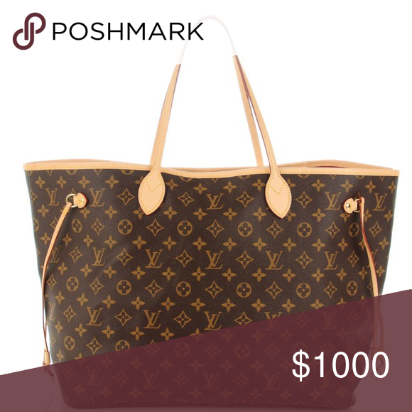 Louis Vuitton Neverfull Gm It s the larger of the 3 sizes. Does not include  clutch insert. 100% Authentic. Comes with attached LV luggage tag for  embroidery ... fca7b43f26
