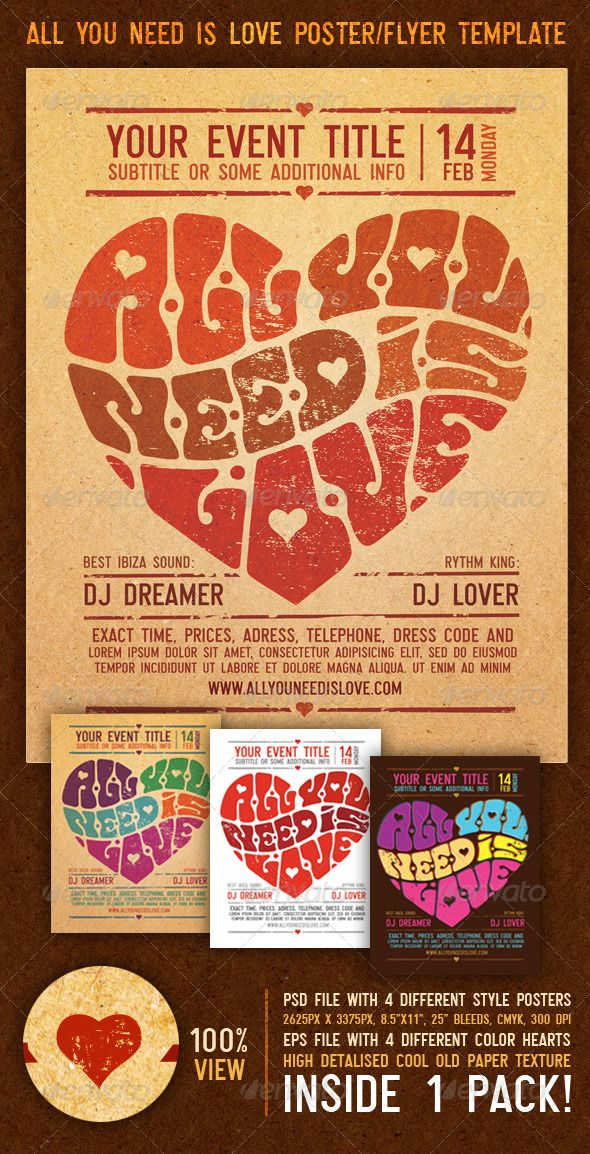All You Need Is Love Vintage Poster\/Flyer Template Flyer - retro flyer template