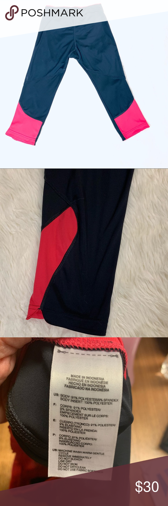 """ADIDAS CROP TIGHTS size SMALL Details: adidas crop tights. Black with hot pink trim. Tight fit  Brand: Adidas  Size: Small  Color: black and pink Retail: 79 Style: crop tights  Material: polyester/spandex  Measurements: waist 12"""" measured across unstretched Inseam 17""""  Length 26"""" measured from waist to hem.  Condition excellent condition no pilling at the crotch (see last picture)  #0289 adidas Pants Ankle & Cropped"""