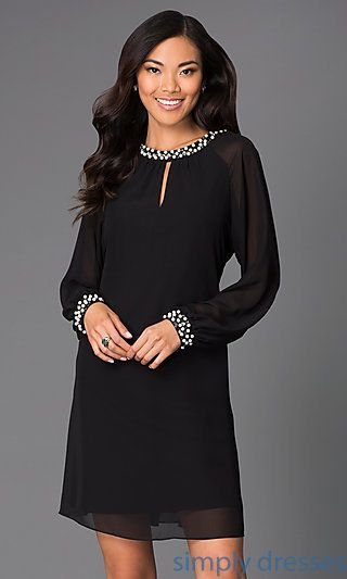 Long-Sleeve Short Chiffon Dress with Pearl Accents
