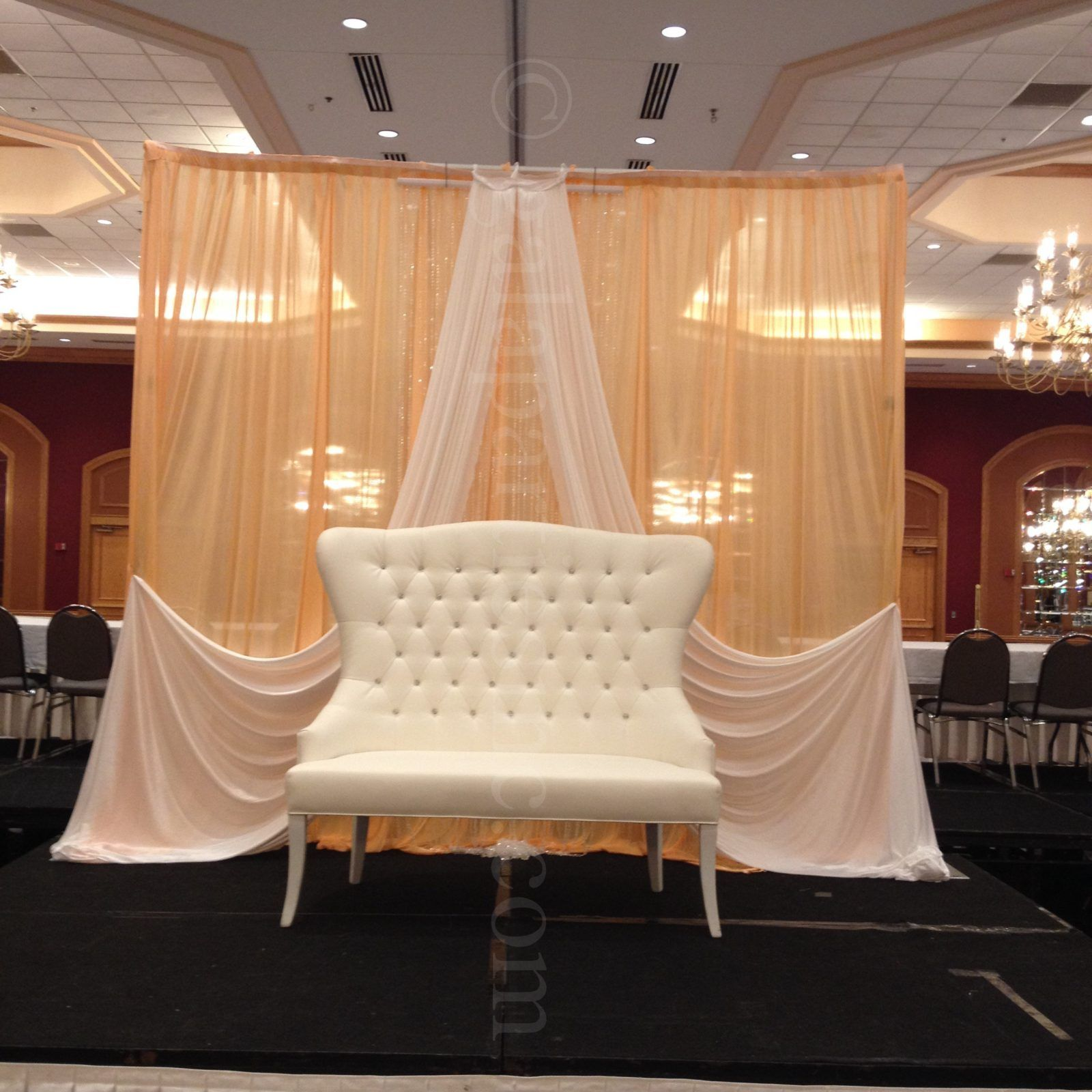 Wedding Stage Backdrop Peach And White Draping Rental Severn