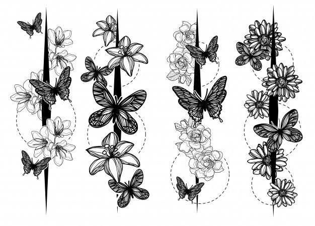 Photo of Drawing and drawing butterflies hand drawing line art illustration art | Premium vector