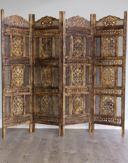 Arabian Style Wooden Screen / Room Divider Antique Finish : Moroccan Bazaar - Arabian Style Wooden Screen / Room Divider Antique Finish