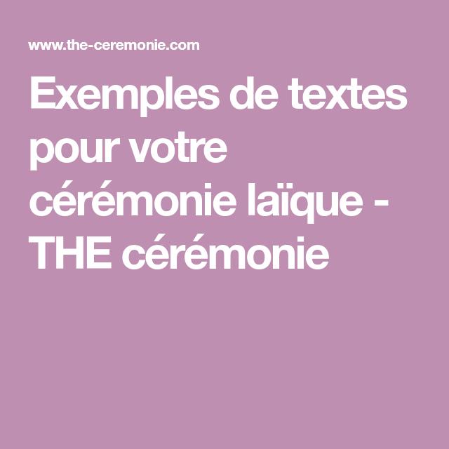 Exemples de textes pour votre cérémonie laïque - THE ...