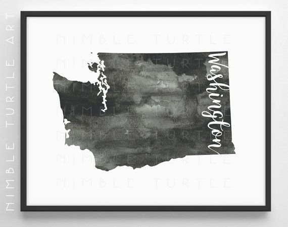 Washington State Outline Watercolor Printable Washington Etsy Washington State Outline Watercolor Printable Art Gallery Wall