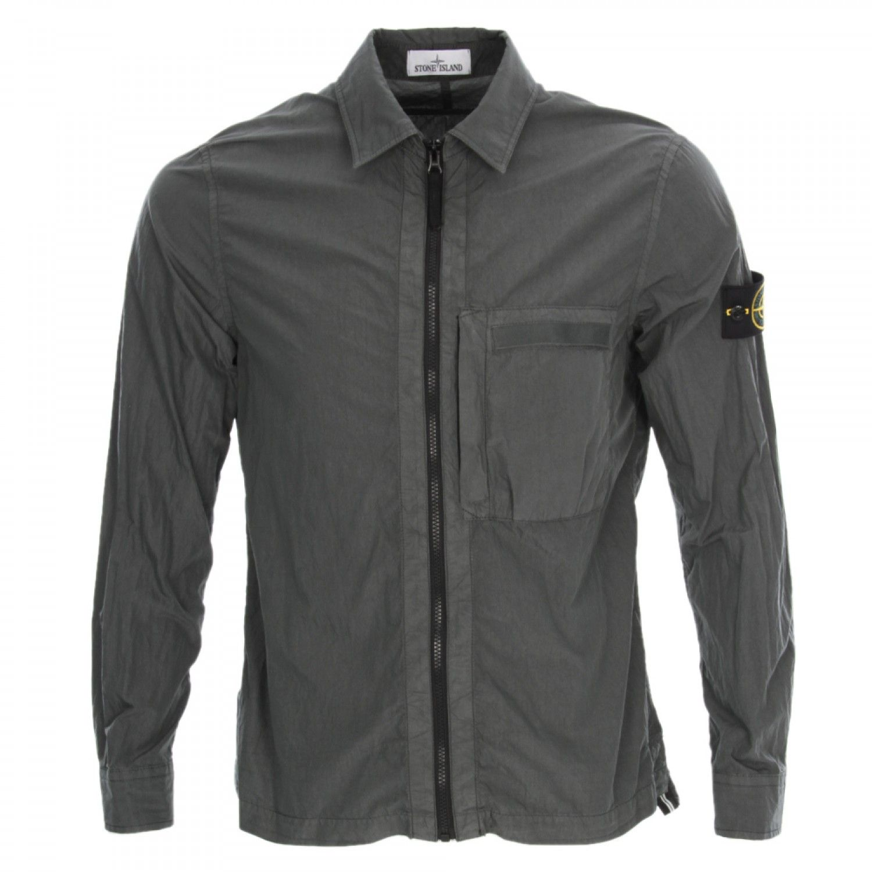 Stone Island Overshirt In Grey At Aphrodite Mens Designer Clothing