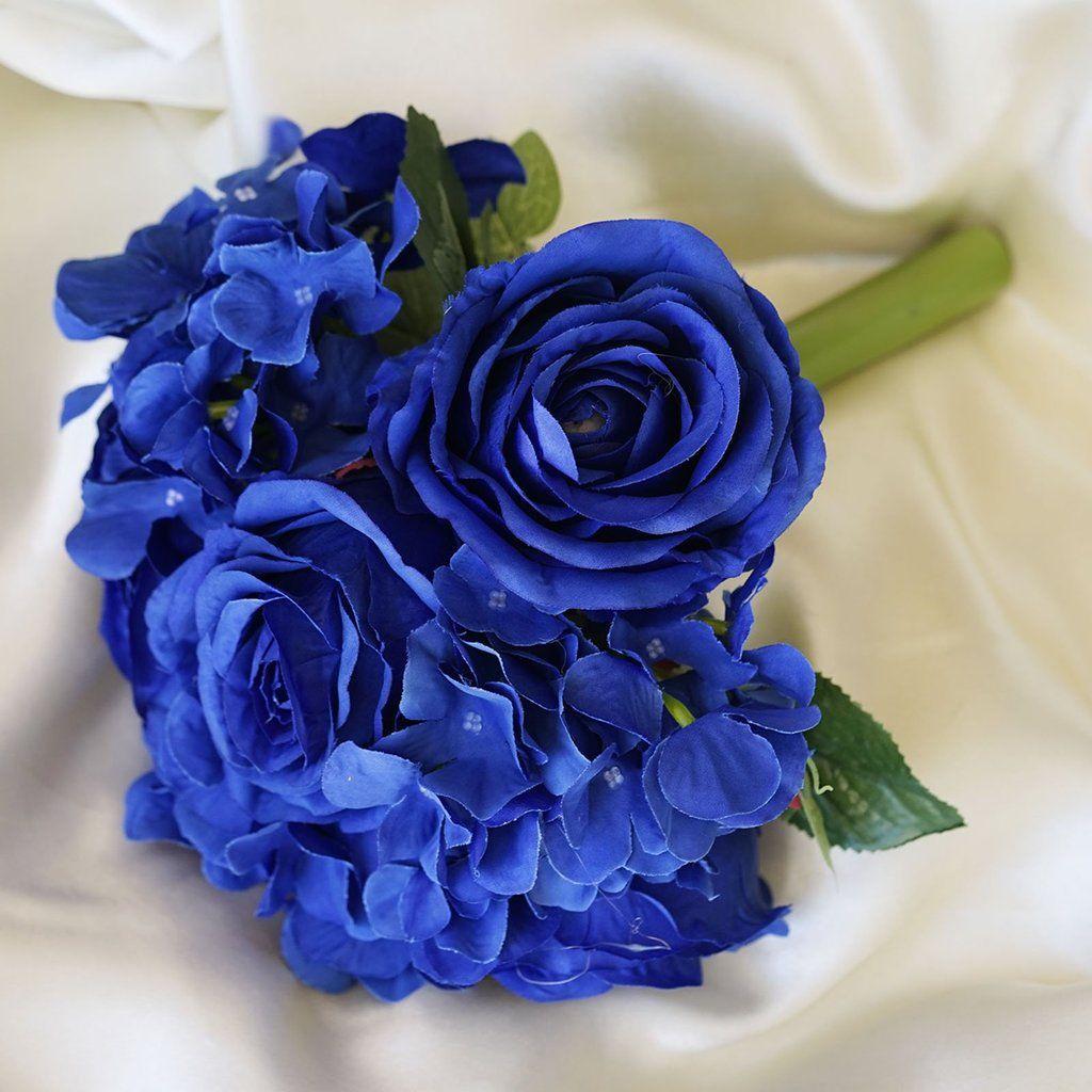 2 Pack Royal Blue Rose Hydrangea Artificial Silk Flowers Bouquet Royal Blue Flowers Artificial Silk Flowers Silk Flower Bouquets