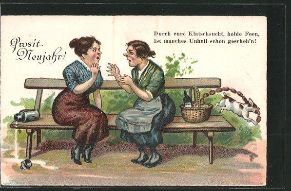 Nostalgische Stehlen postcard ak frauen sitzen auf der bank u schwatzen während ein
