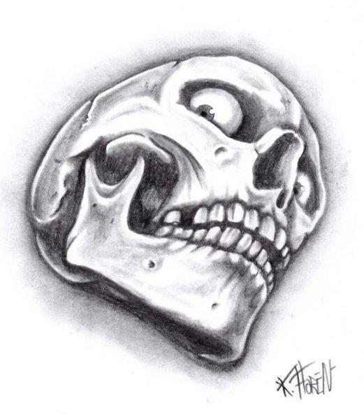 dessin tatouage crane tete mort