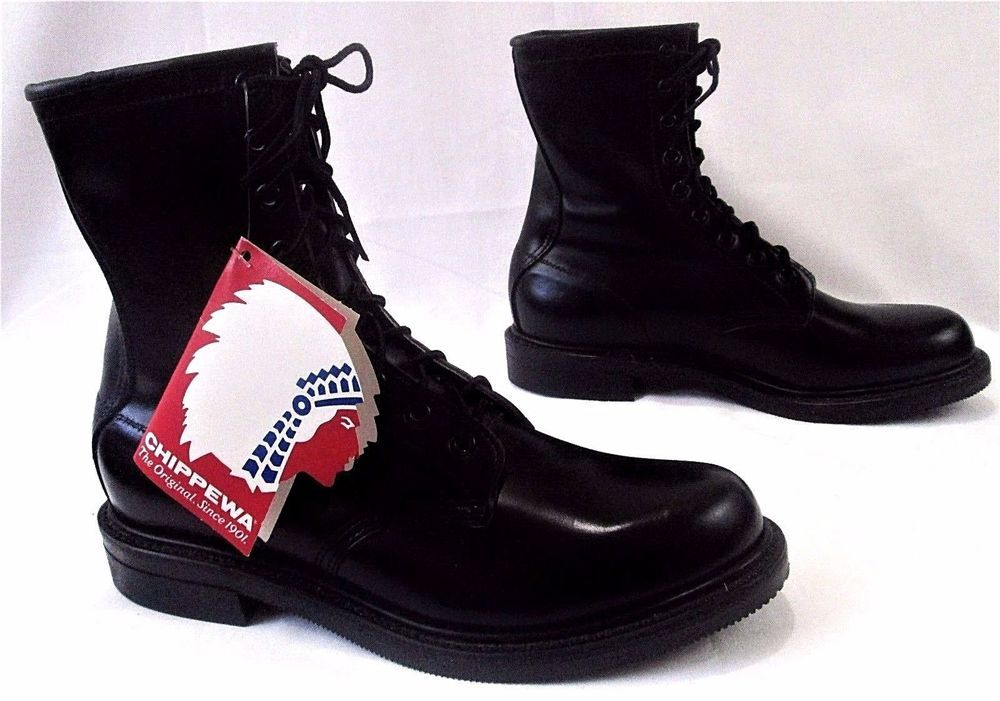 Chippewa mens service boots new 8 black leather size 9 1