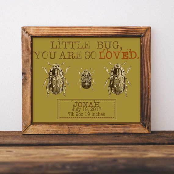 Little Bug Baby Name Wall Art, Outdoor Nursery, Birth Announcement ...