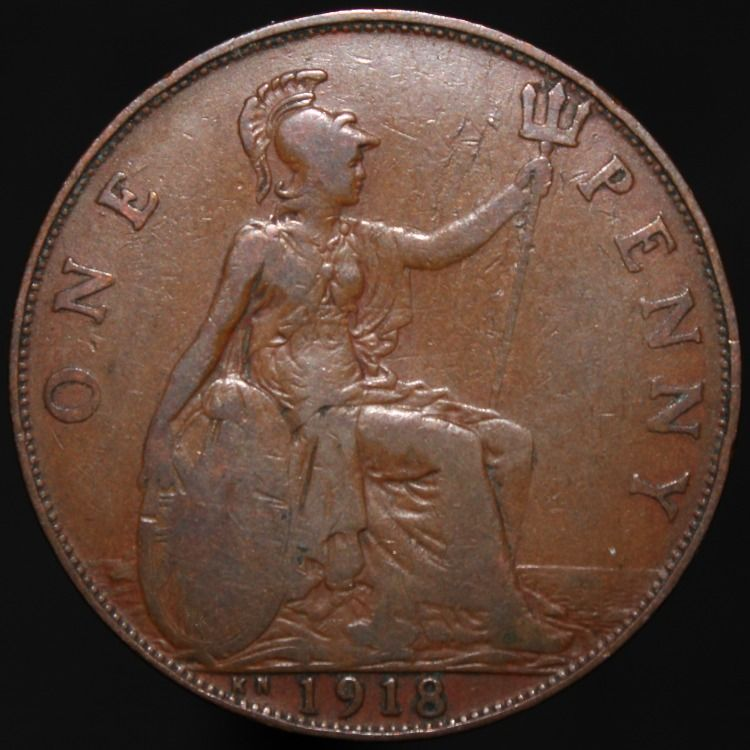 1918 kn v one penny bronze coins km coins