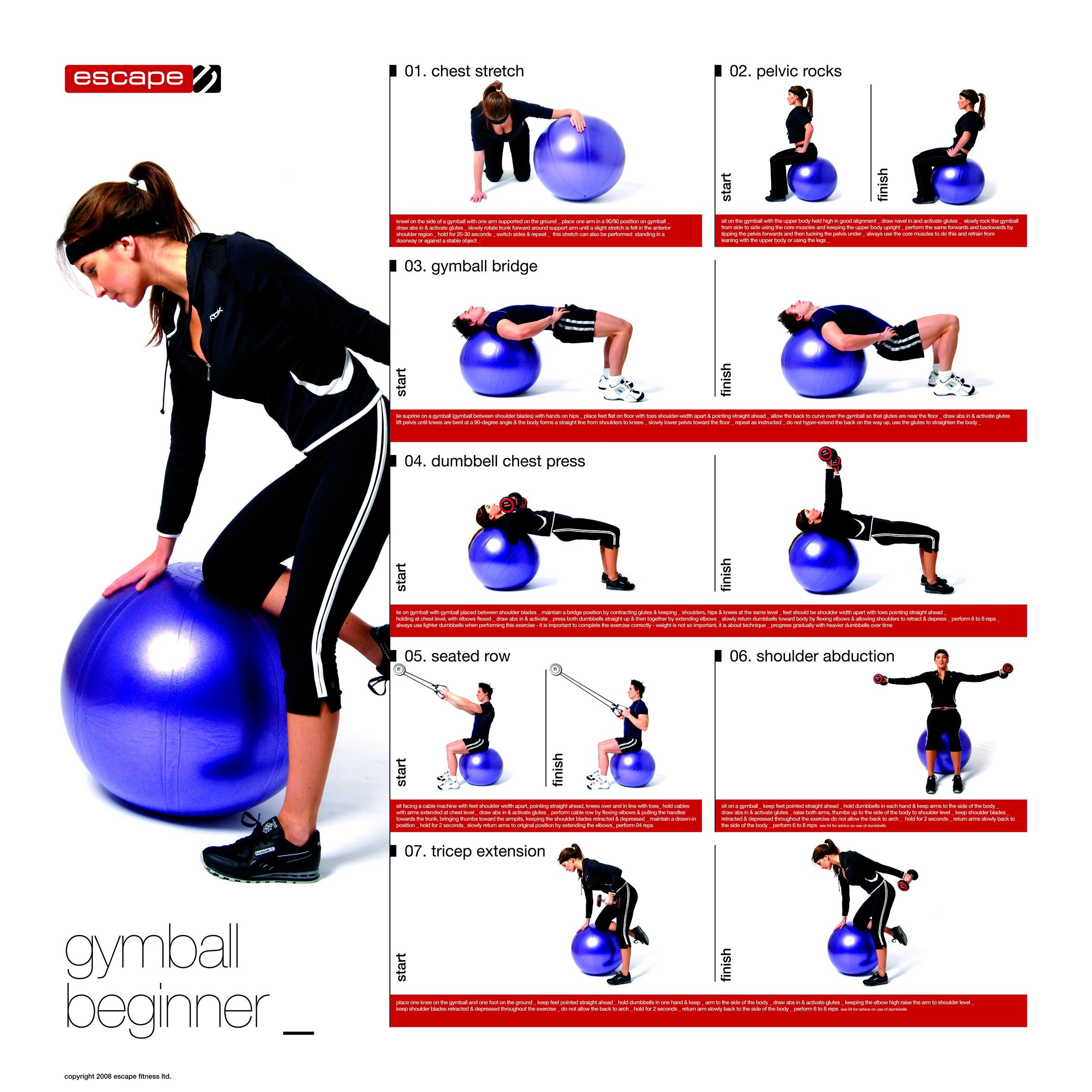 gymball poster beginner via escape fitness healthy strong healthy living cooking. Black Bedroom Furniture Sets. Home Design Ideas