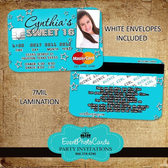 aqua stars quinceanera invitations credit card event themes and