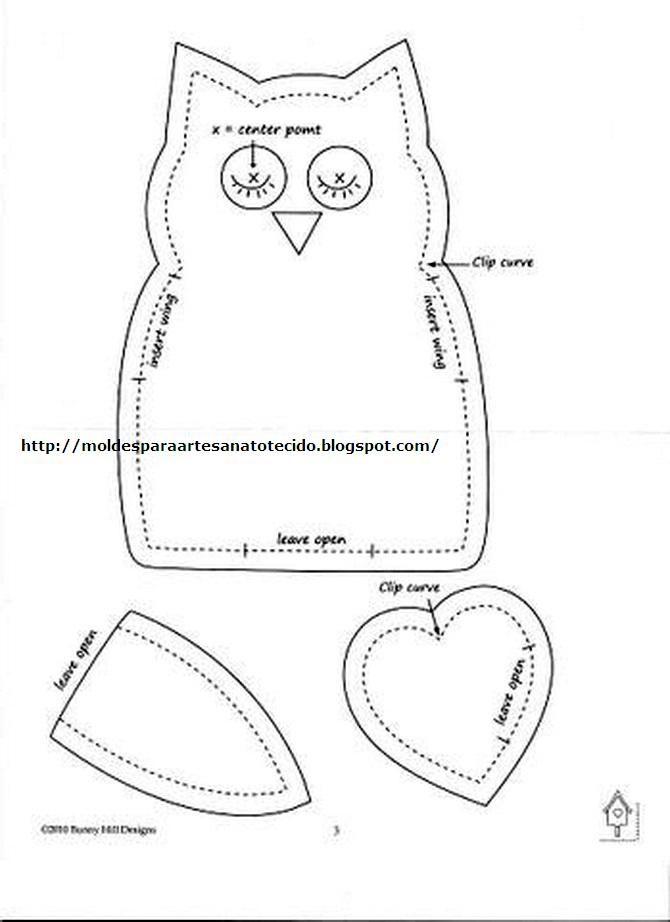 molde coruja de Pano | Christmas | Pinterest | Molde, Patrones y Costura
