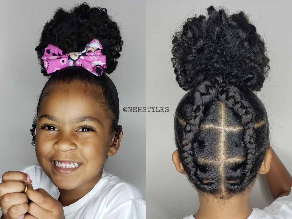 Bun And Braids Toddler Style In 2020 Kids Hairstyles Toddler Hairstyles Girl Curly Hair Styles Naturally
