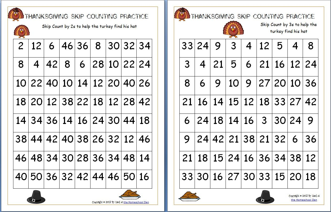 Thanksgiving Skip Counting Mazes 2s 3s 5s Free