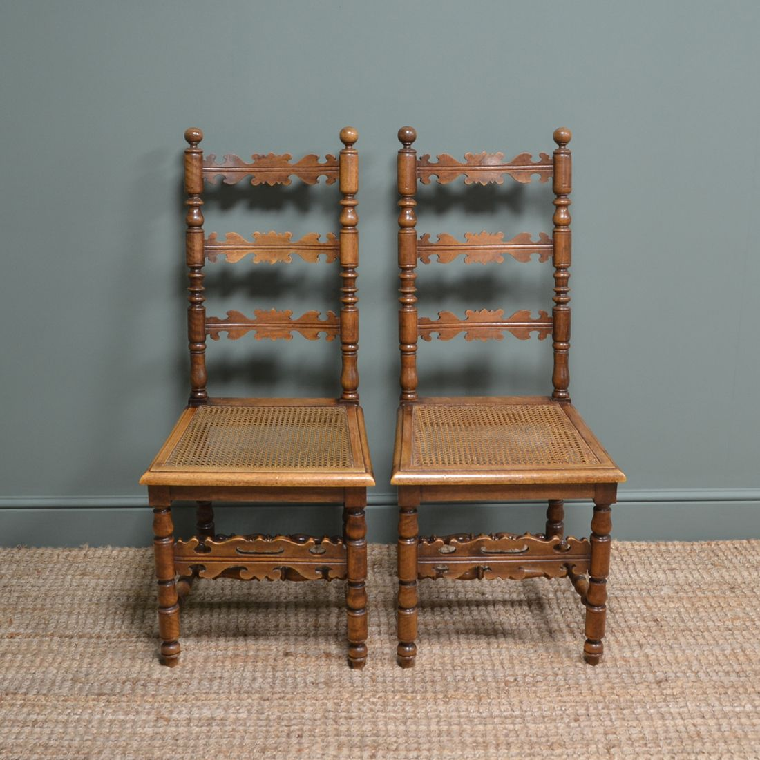Pair of Fruitwood Antique Ladder Back Chairs in 2020
