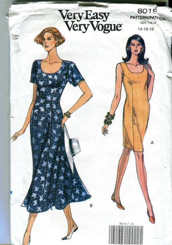 Very Easy Very Vogue 8019 Vintage 90s Dress By Bellaloona 5 00 Vogue Dresses Vogue Patterns