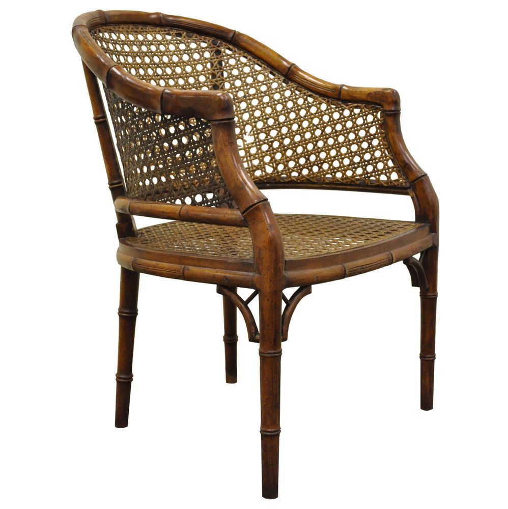 Vintage Hollywood Regency Hekman Barrel Faux Bamboo Cane Lounge Club Arm  Chair