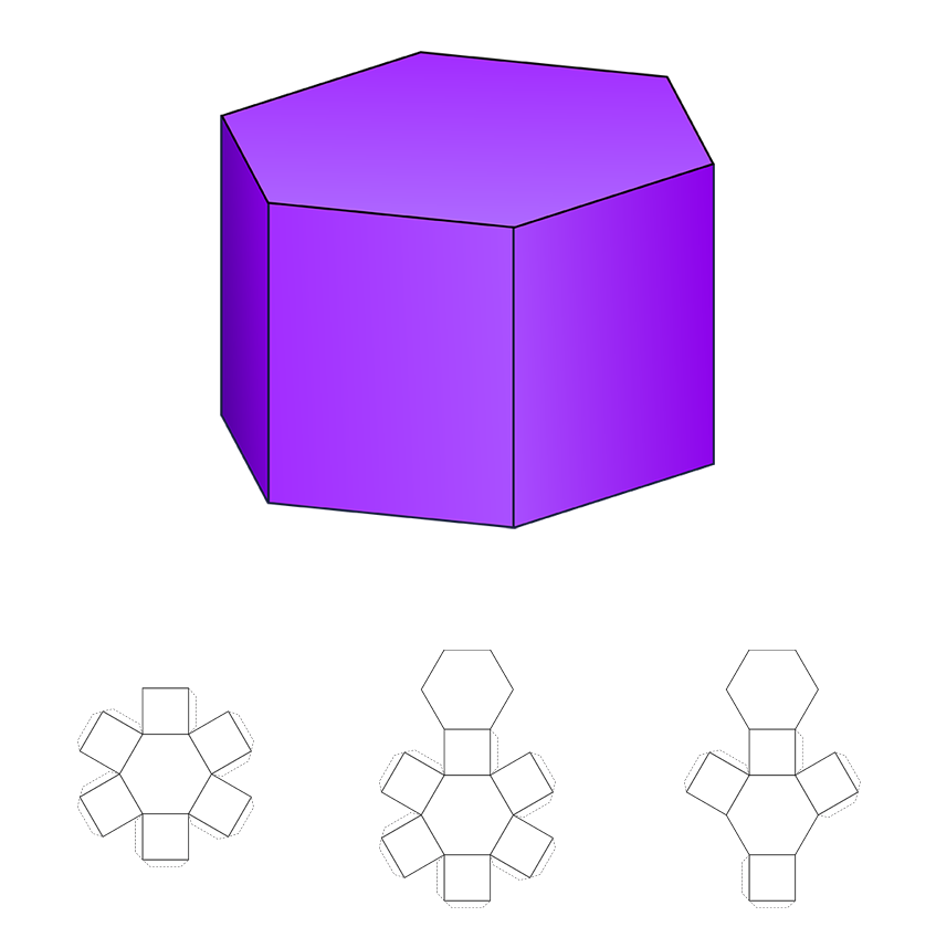how to draw a 3d hexagonal prism