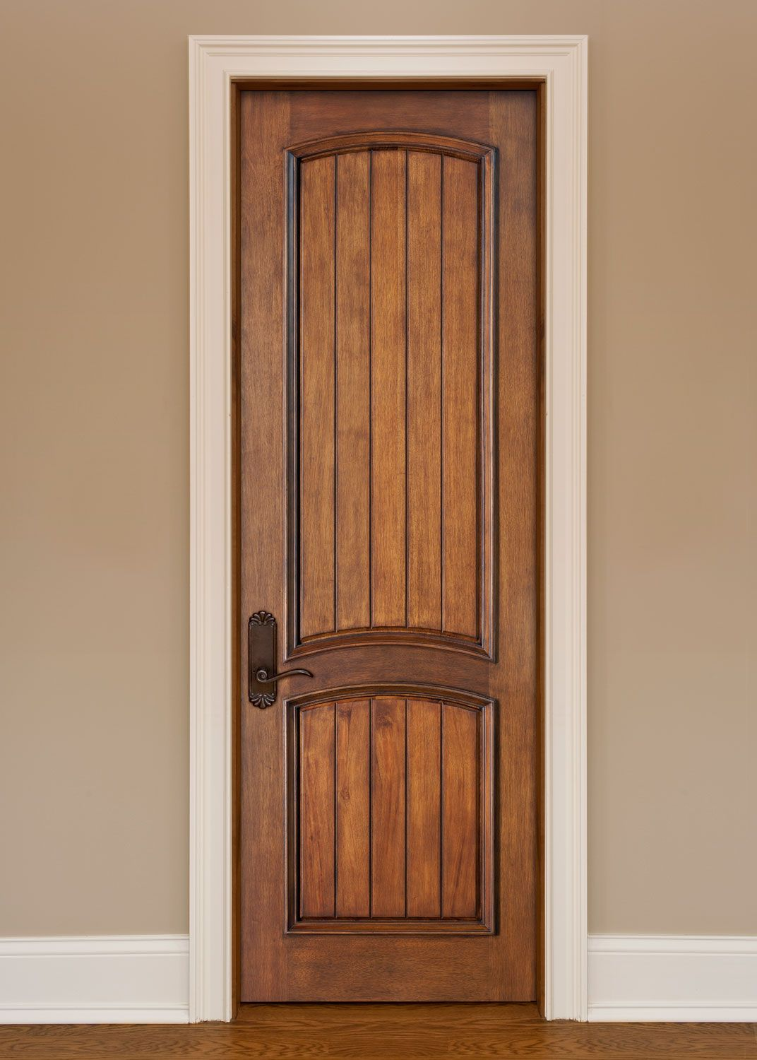 Artisan Interior Custom Door Solid Single Mahogany Wood Interior Door With  V Grooves Raised Moulding And