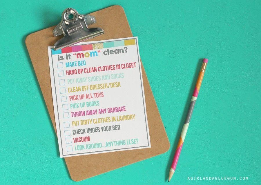 "Is It ""mom"" Clean...bedroom Checklist Printables"