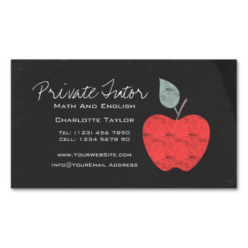 Private home tutor teacher apple chalkboard magnetic business card private home tutor teacher apple chalkboard magnetic business card reheart Gallery