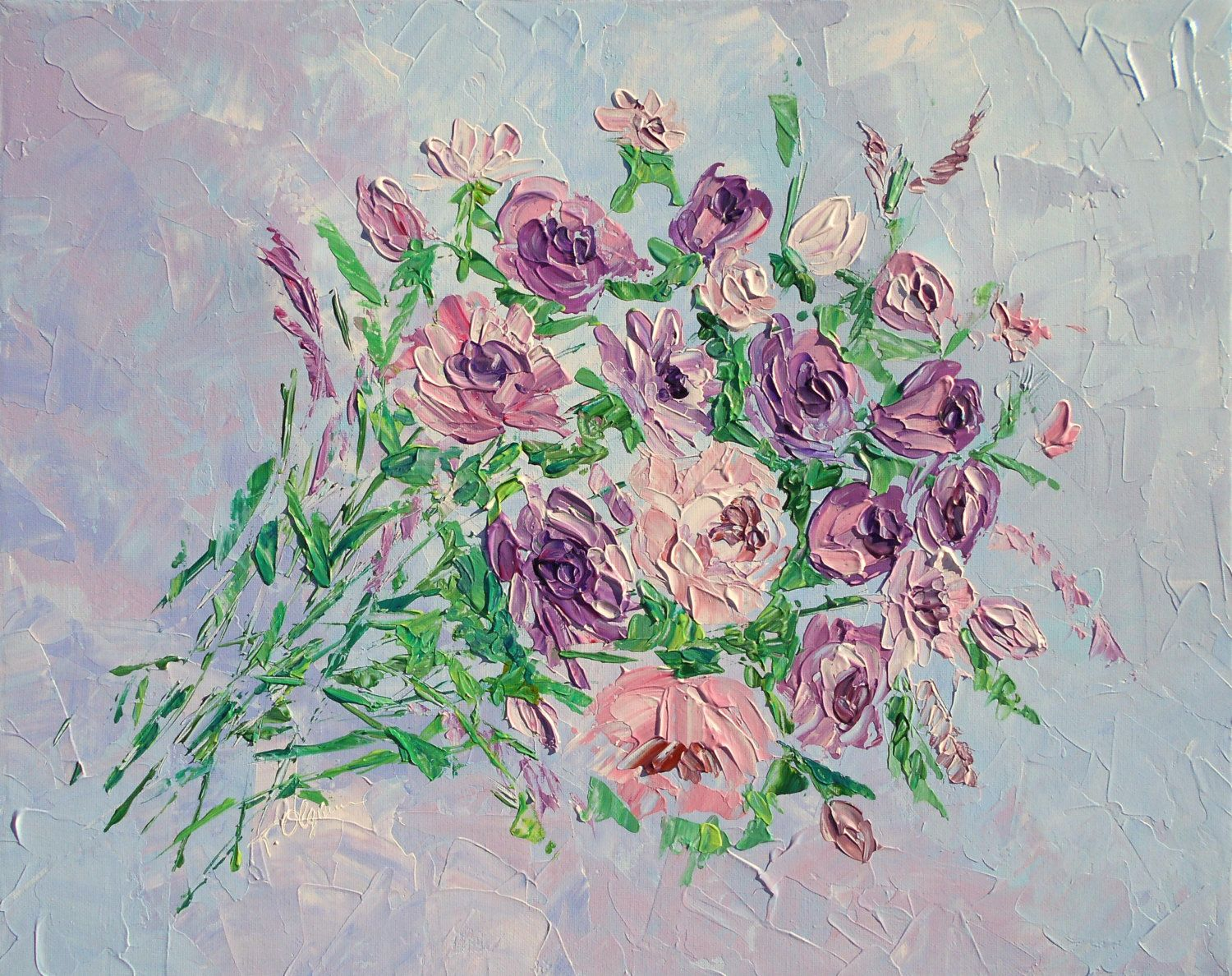 Palette Knife Pink Flower Painting Original Abstract Acrylic Wall