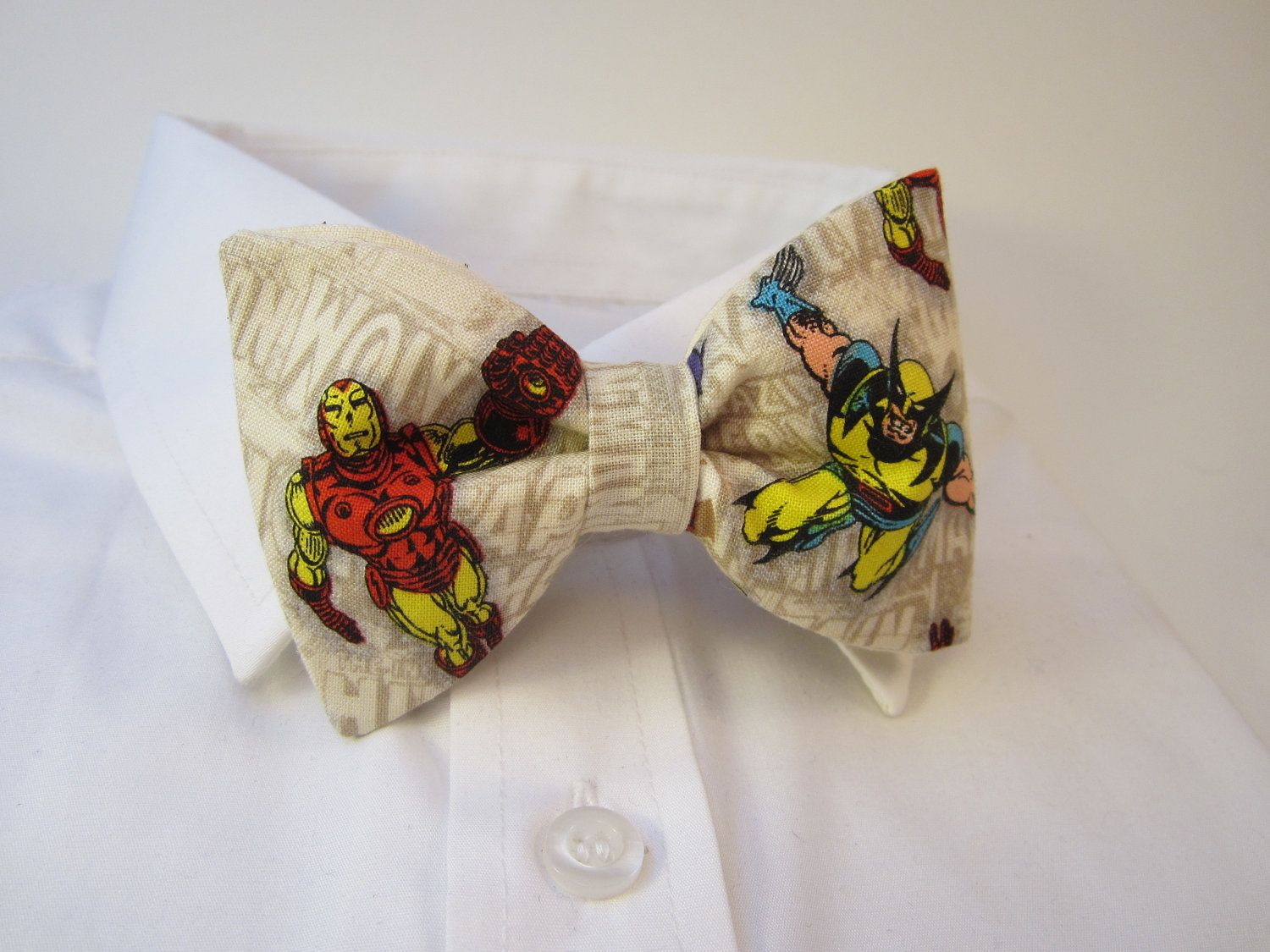 Ironman and Wolverine fabric Bow tie. $24.99, via Etsy.