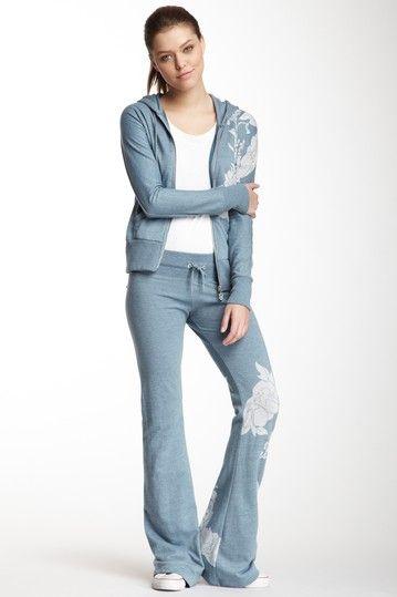 Vertigo Floral Print Hood Sweater & Pant Set