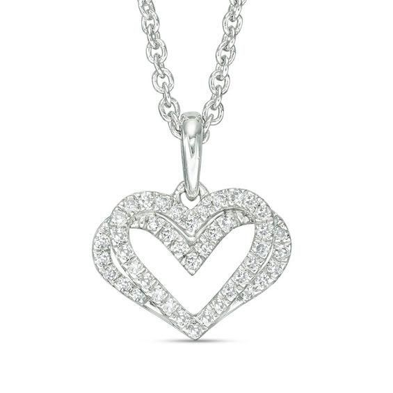 Zales 1/10 CT. T.w. Diamond Loop Knot Necklace in Sterling Silver U4xNi