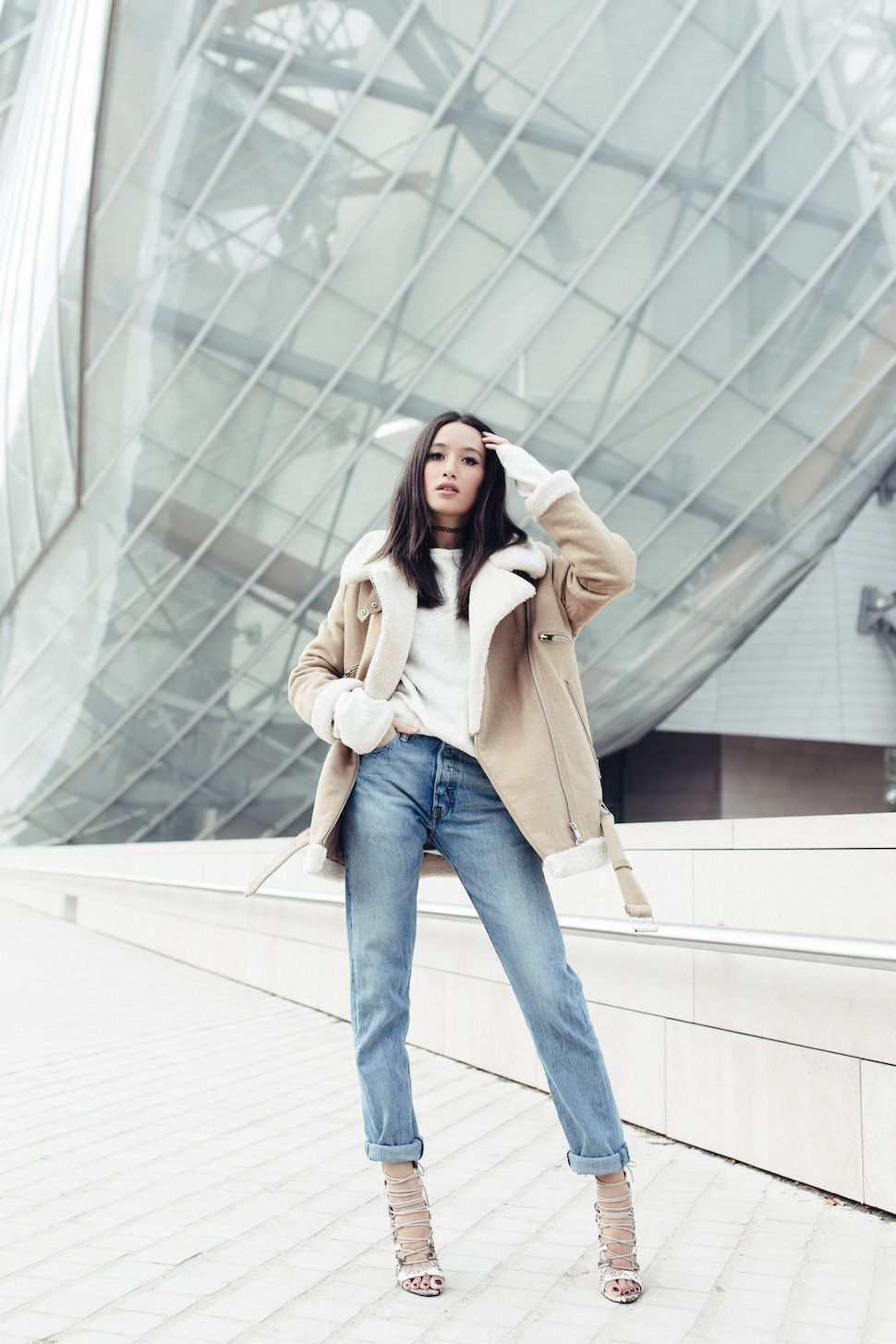 294dfc4ffb 57 Ways To Combine Your Jeans With Shearling Coat This Winter  Style  Women  Outfit  Women Outfit