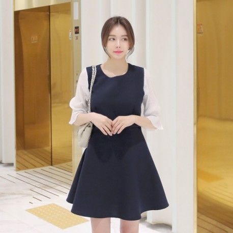 Korean Fashion Online Store 韓流 Trends Luxe Asian Women 韓国 Style Shop korean clothing Jelly puff 2colors Dress