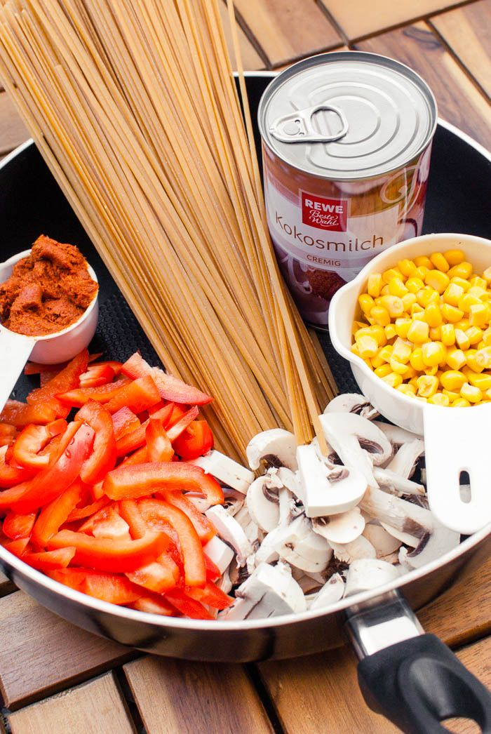 Photo of Creamy-hot Thai curry one pot pasta {vegan + with video}