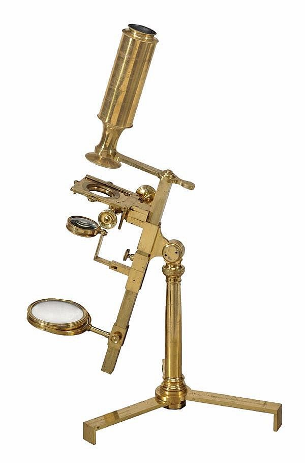 A fine Regency lacquered brass 'universal' pattern compound microscope, William and Samuel Jones, London, early 19th century.