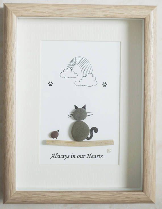 Guijarro arte enmarcado cuadro gato siempre en nuestros | Quadres ...