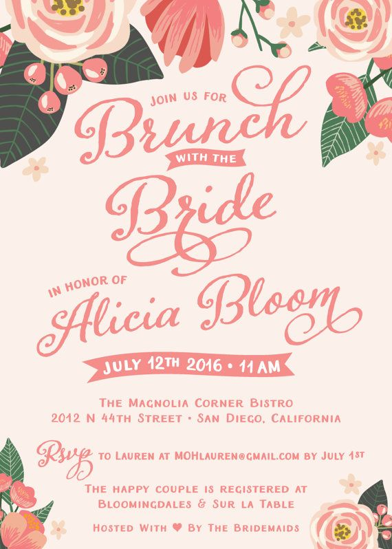 Brunch With The Bride Bridal Shower Invitations Personalized Printed Invited Envelopes Spring Summer Fl Free Custom Colors