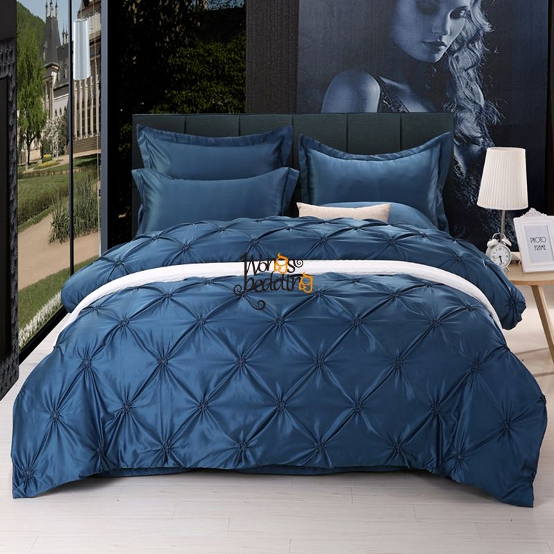 4 Pieces Imitated Silk Luxury Bedding Set Solid Color Pinch Pleat Bed Set  King Queen Bed Linens Duvet Cover Bed Sheet 11 Colors
