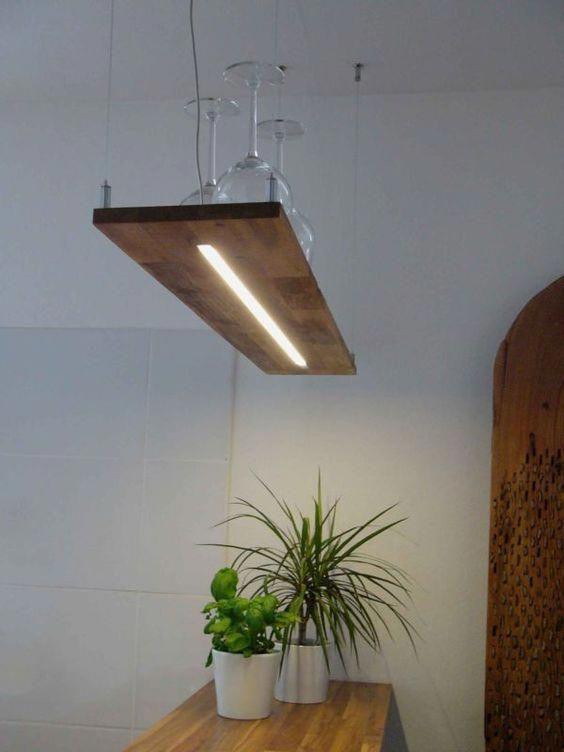 Hängelampe Holz Akazie LED Designerleuchte mit