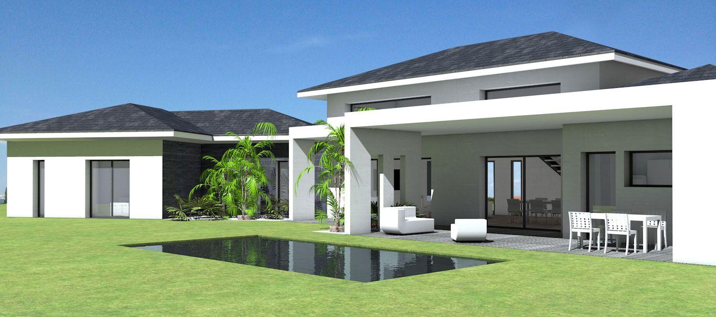 Maison contemporaine à toit ardoises et grande terrasse couverte ...