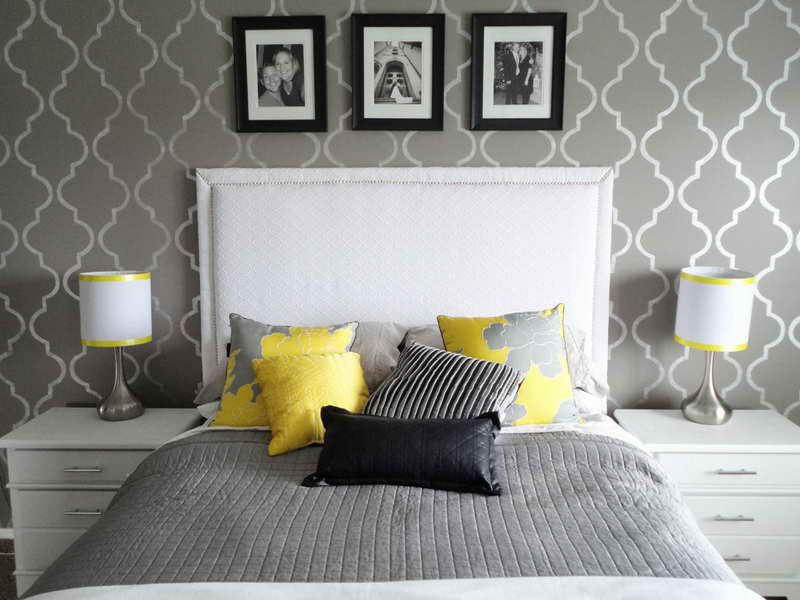 Grey Walls And Bedding White Headboard With Pink As An Accent Color Also