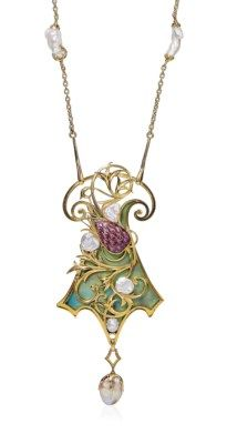 $63,200...AN ART NOUVEAU ENAMEL AND PEARL PENDENT NECKLACE, BY GEORGES FOUQUET 11.13.17 18-22,000 The green enamel shield-shaped pendant, with a scrolling gold and purple enamel stylized thistle, suspending a baroque pearl, circa 1905, pendant 11.0 cm, chain 68.0 cm, with French assay marks for gold Signed G. Fouquet, no. 2429, with maker's mark for Georges Fouquet