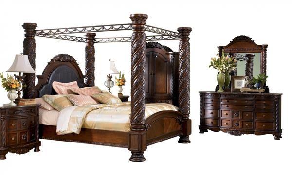 North Shore Traditional Dark Brown Wood Glass Master Bedroom Set Bedroom Sets Ashley Bedroom