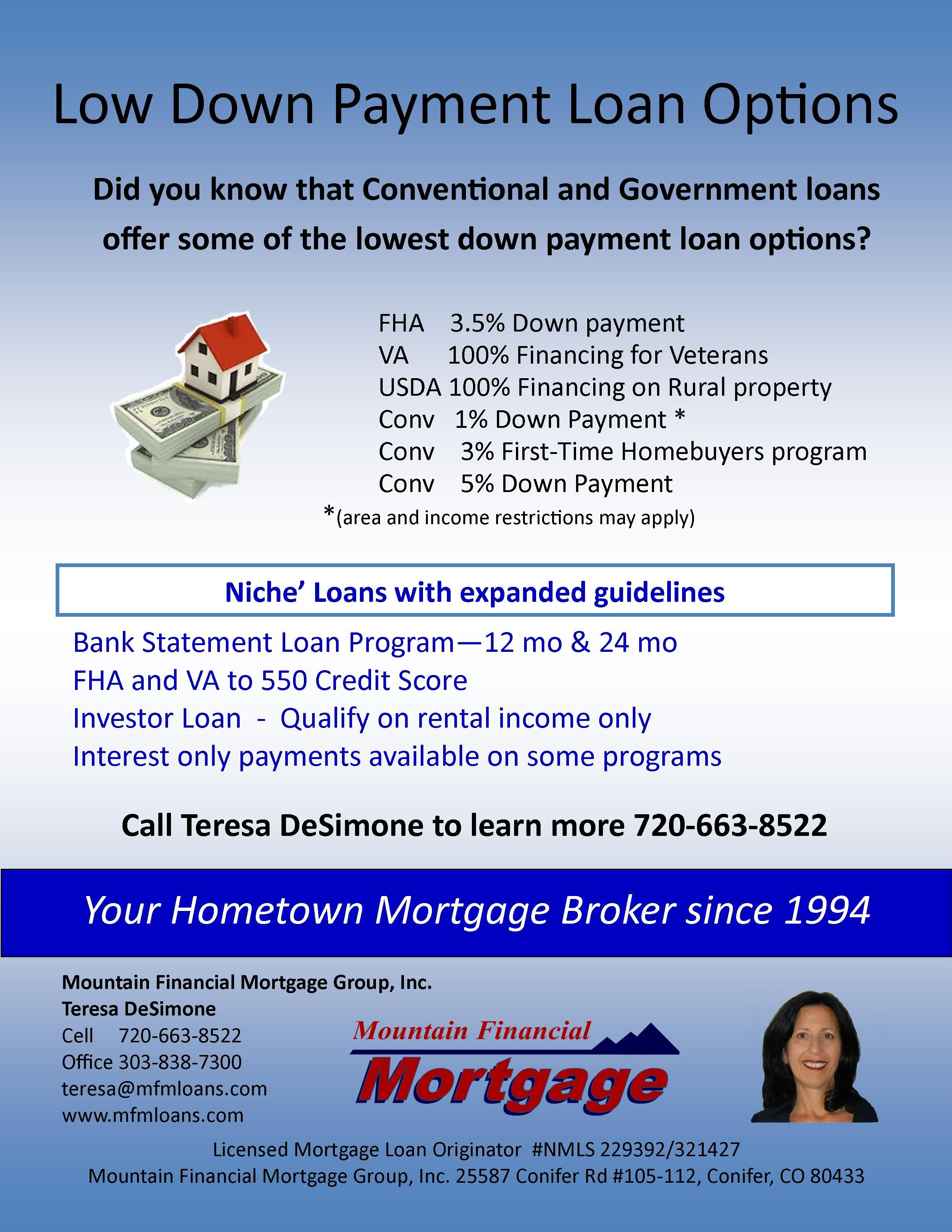 550 Credit Score Home Loan >> Low Down Payment Loan Options Residential Home Loans
