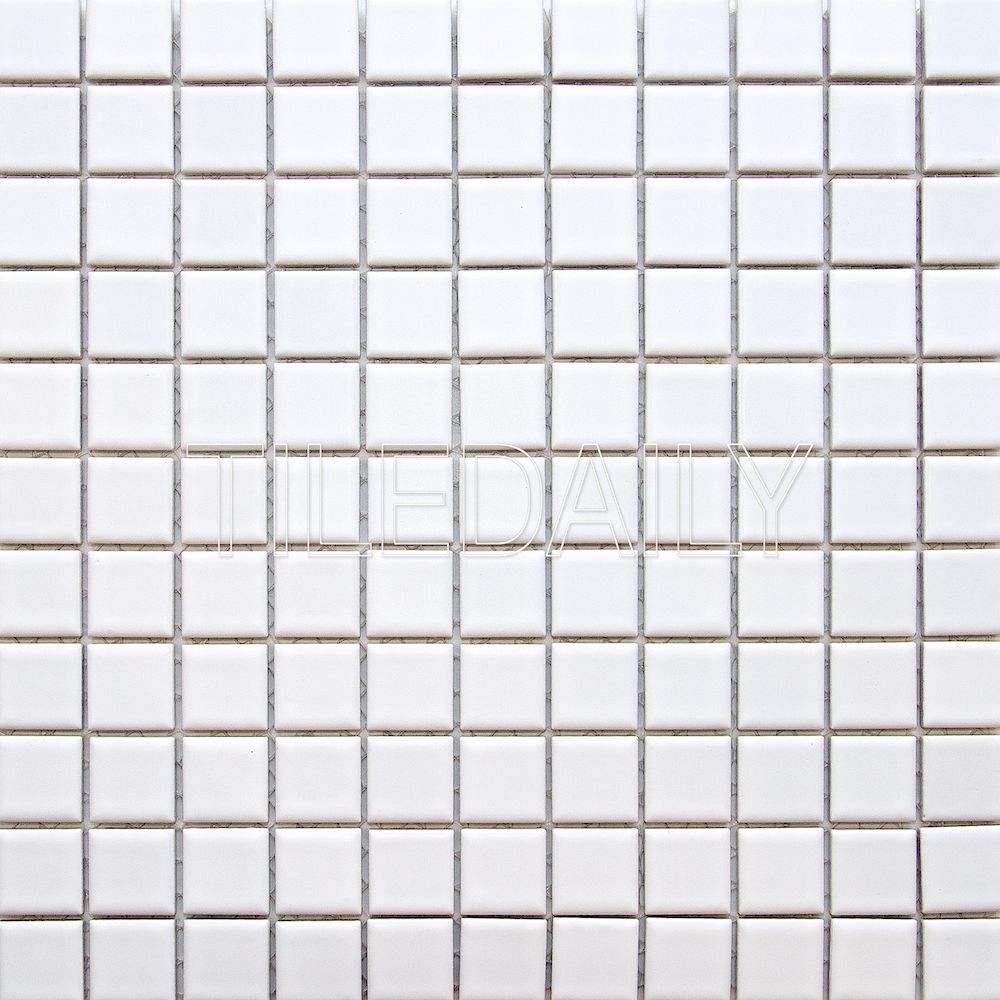 1x1 square matte white porcelain mosaic