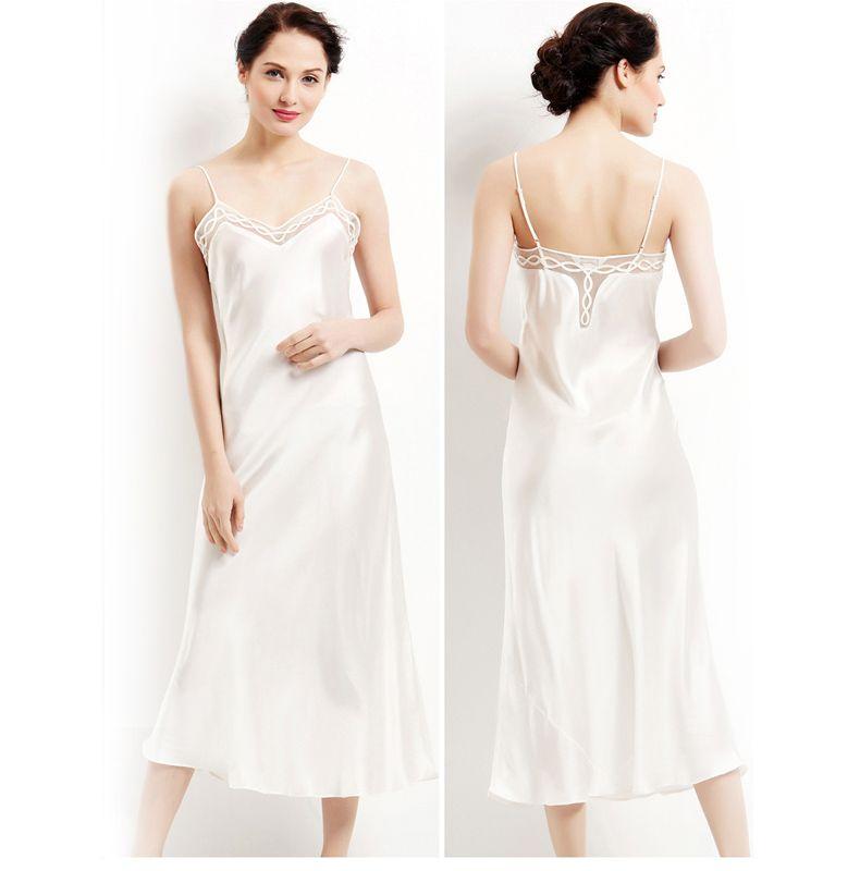 100% pure silk long nightgowns women Sexy sleepwear Home dresses SILK  nightdress SATIN nightie Summer style dress White Black - MISS LADIES d8cedc71e