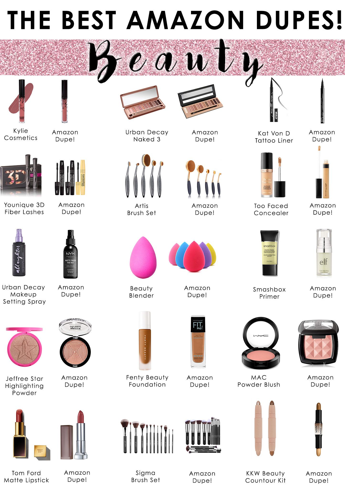 The Best Amazon Dupes Great Finds Makeup Dupes Lipstick Makeup Brushes Amazon Best Makeup Dupes