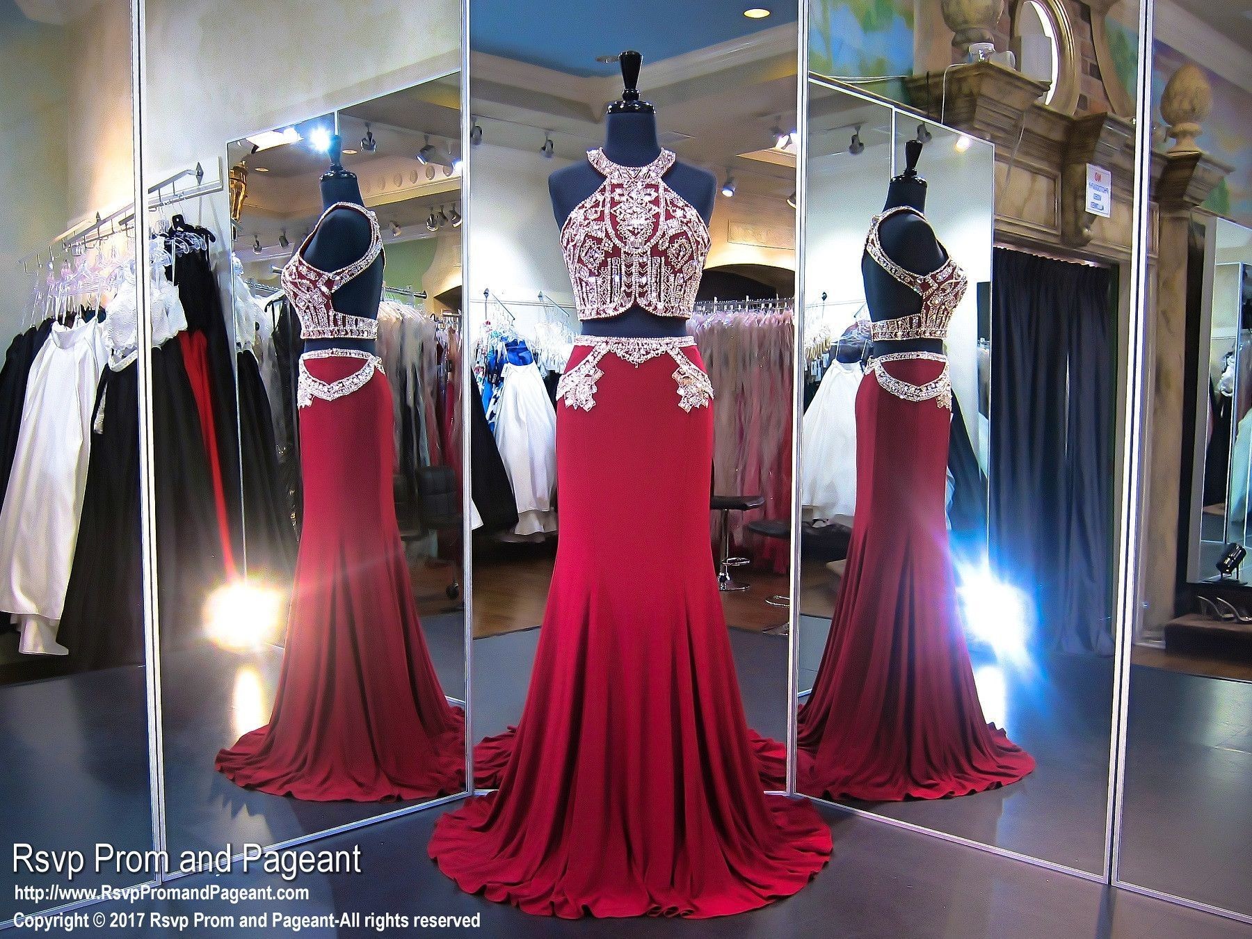 Marsala beaded two piece prom dress red gowns beaded top and prom