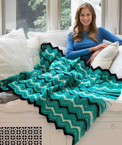 Fringed Zigzag Throw Free Crochet Pattern In Red Heart Yarns New